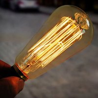 Atacado- High Brightness Glass Long Life Service E27 40W / 60w 220V / 110V Filamento Bulb Vintage Retro Antique Style Edison Lamp