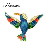 Wholesale Colorful Alloy Bird - New Arrival Animal Brooch Gold Color with Rhinestone and Colorful Enamel Bird Brooches for Lady Pin Gift Jewelry