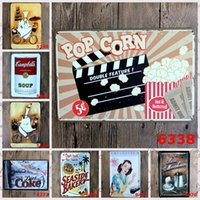 Wholesale Coke Paint - 20*30cm Frameless Iron Painting Creative Vintage Tin Poster Pop Corn Chef Coffee Dessert Metal Tin Signs Soup Coke Style Paintings Hot 4rjx