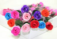 Wholesale Wholesale Wedding Soaps - 2017 simulation flower single never withering roses creative practical Valentine's Day gift rose soap flower