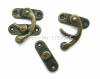 Wholesale Wholesale Purse Parts - Wholesale- 50 Sets Metal Hook Box Latches Clasp Box Lock Handle DIY Handmade Bag Parts Purse Antique Bronze 4 Holes 2.6cm x 2.3cm J1841