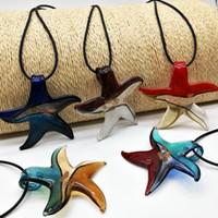 cristal de murano estrella de mar al por mayor-Envío Gratis Al Por Mayor de Moda Caliente 5 Unids Starfish Mix Color Plata Hoja de Cristal de Murano Collar Colgantes, Collar de Moda