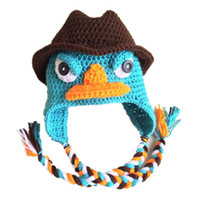Wholesale Knitting Baby Cowboy Hats - Novelty Cowboys Perry the Platypus Hat,Blue Phineas Winter Cap,Handmade Knit Crochet Baby Boy Girl Cartoon Hat,Newborn Toddler Photo Prop