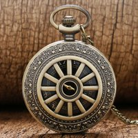 Atacado-Retro Bronze Case Cool Black Dial Quartz Pocket Watch Mens Womens Pendant Chain