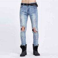 dbb401fb378f Großhandels-berühmte Marke Designer Slim Fit Zerrissene Jeans Männer Hallo-Street  Mens Distressed Denim Joggers Knie Löcher Washed Destroyed Jeans