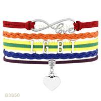 Wholesale Pride Bracelets - (10 PCS Lot) LGBT Pride Infinity Love Heart Charm Leather Cuff Wrap Bracelets for Gay Gift Jewelry