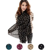 Wholesale Grid Chiffon Scarf - Wholesale- Popular Fall Winter Women Grid Polka Dot Pattern Long Chiffon Soft Silky Shawl Scarves Neck Long Wrap Headscarf Spot All-match