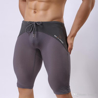 Wholesale Transparent Tight Shorts - Wholesale- B2240 Brand Men's Fashion Sexy Transparent Shorts Breathable Bodybuilding Solid Tights Mesh Shorts Brave Person