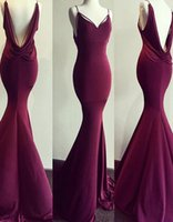 Wholesale Morden Fashion - Morden Real Photo Burgundy Evening Dresses Open Back Ruched Stretch Elastic Satin Sweetheart Mermaid Prom Gowns Custom Made 2017