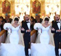 Wholesale Kim Kardashian Mermaid White Dress - 2017 Kim Kardashian Mermaid Wedding Dresses Off Shoulder Tulle Puffy Court Train Wedding Party Bridal Gowns