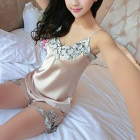 Wholesale Home Lingerie - Ladies Sexy Silk Satin Pajama Set Lace V-neck Sleepwear Women Home Wear Lingerie