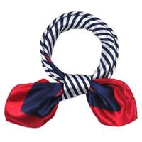 Wholesale Satin Stripe Scarves - Wholesale- New Arrival 1PC Satin Silk Square Scarf Women Fashion Four Seasons Occupation Stripe Silk Satin Scarves Oct18