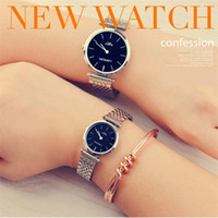 Wholesale gold nail strips - Couple Luxury Brand Watches Ultra-Thin High Quality Mens Watches Waterproof High-Grade Quartz Movement wristwatch With Steel Strip Nail