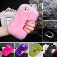 Case For iPhone 7 Plus / 6 6S / SE 5 5S Diamant Luxe Luxe Coiffure Coiffure Cheveux Fluffy Fur Cover Girl Soft TPU Gel Coquille Skin Cute Rhinestone