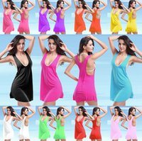 Wholesale Clothes Low Cut Sexy - Apparel Women's Clothing Dresses Casual Dresses Solid color Beach Dress Atmosphere Sexy Halter Low-cut Seaside skirt