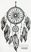 Wholesale NEW x6cm Black Fashion Tattoo Dreamcatcher Feather Waterproof Temporary Tattoo Stickers