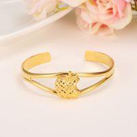 Wholesale Gold Items 24k - Classical Fashion Dubai USA Steve Jobs Apple Bangle Jewelry 24k Solid Gold GF Ethiopian Bracelet for Women Items Bangle Open