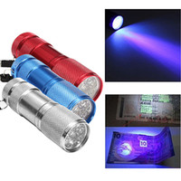 Wholesale Led Lighting Violet - Aluminum Alloy Portable UV Flashlight Violet Light 9 LED 30LM Torch Light Lamp Mini Flashlight 4 Color 2503029