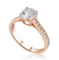 1,25 Ct D / VS2 Rundschnitt Simulation Diamant Solitaire Verlobungsring 14K Rose Gold Enhanced