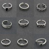 Wholesale Star Designs - Hot Sale 47 Designs Vintage Adjustable Rings 925 Silver Cross Flower Feather Star Design Rings For Women & Men Party Jewelry Gift