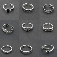 925 ringe einstellbar großhandel-2019 neu erhöht 217 designs vintage 925 silber ringe einstellbar thai silber kreuz feder stern ringe für frauen männer partei schmuck geschenk