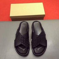 Wholesale Nailed Shoes Men - brand designer high-end custom cowhide rivet nail casual comfortable fashion men slipper flat trend xummer rivet word drag 2017 new shoes