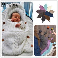 Wholesale Colour Bags - Mikrdoo 2017 New Baby Newborn Knitted Blanket Handmade Wrap Super Soft Sleeping Bag Cotton Jacquard Blanket Layer Thread Tassel Hat Top
