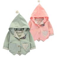 abrigo de impresión estrella al por mayor-Venta caliente Ins Baby Kids boy Girl 100% algodón Trench coat manga larga estampado de estrellas cap baby kids coat 2 colores
