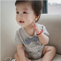 Wholesale Jumpsuit Short Unisex - Baby Romper summer new toddler kids letter printed jumpsuit children short sleeve bow climb clothes baby boys girls cotton jumpsuit T1469