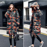 Wholesale women s silk velvet jackets - Winter Women Parka Hooded Long Camouflage Cotton Thick Women Jacket Outwear Warm Padded New Fashion Women Coat