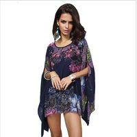 Wholesale Tunic Chiffon Shirt - Boho Batwing Sleeve Chiffon Blouse Women Casual Floral Print Loose Kimono Shirts Big Size Beach Tunic Tops Peplum Blusas Robe 023