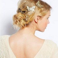 Wholesale Wedding Hair Side - Hair Jewelry Gold Silver Plated Brief Style Hollow Butterfly Bride Wedding Hair Jewelry Sweet Hairpins butterfly hairpin Side clips Headwear