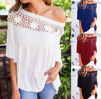 Wholesale T Shirts Crochet Flowers - Women 3 4 Sleeve Sexy Off Shoulder Loose Blouse Casual Flower Crochet Tops T Shirt S M L XL ZL3405
