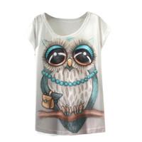 estilo da luva do batwing camiseta venda por atacado-Atacado-Moda Feminina T-shirt de manga curta Batwing Estilo Verão Roupas T-Shirt Animal Print O-pescoço T Shirt