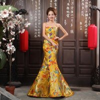 Wholesale Strapless Cheongsam Dress - Chinese Traditional Embroidery Dress Qipao Gold Bride Vintage Wedding Cheongsam Oriental Party Dresses Robe Chinoise Dragon Long
