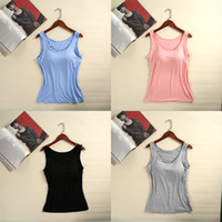 Wholesale Exercise Apparel - S M L XL XXL 4XL Sexy Wide shoulder strap Women Camisoles have Bra pad and No rims, cotton Camisoles Take exercises Yoga Home apparel