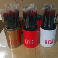 Wholesale Makeup Brush White Leather - Kylie Jenner 12Pcs Makeup Brushes Kits Sets Cylinders Cosmetic Brushes For Foundation BB Cream Powder White Gold Red with leather bucket