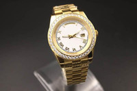 Wholesale Diamond Band Watches - 2017 New Brand Automatic Watch Women White Dial Diamond Case Yellow Gold Band Day Watch Date Gold Skeleton Mechanical mens Watch