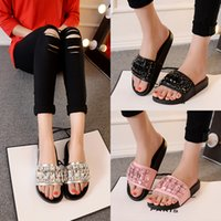 Wholesale Embellished Sandals - Womens Black Silver Pink PU Leather Rhinestone Flip Flop Clear Rhinestones Jewelry Beads Embellished Cutouts Flat Slide Sandals Slipper C57Q