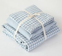 Wholesale Japanese Cotton Bedding - Japanese style Blue little checks bedding set 100% water washed cotton 4pcs mattress fitted sheet duvet cover pillowcase set B3805