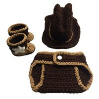 Wholesale baby knitted cowboy hats for sale - Group buy So Cool Newborn Knit Cowboy Costume Handmade Crochet Baby Boy Girl Cowboy Hat Diaper Cover Booties Set Infant Halloween Costume Photo Prop
