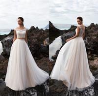 Wholesale Robe Casamento - Bohemian Beach Two Pieces Wedding Dress Lace Off the Shoulder Crop Top Boho Beach Bridal Gowns 2017 Casamento Robe de marriage