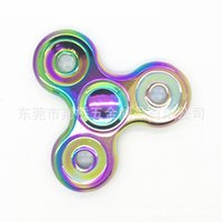 Wholesale Eva Balls - Fidget Spinners Rainbow Color Finger Toy Triangle Alloy Metal Hand Spinner Ceramic Steel Ball Bearing Spinnings Top High End 22qc B