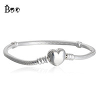 Wholesale Silver Bangles For Children - Boo Factory Wholesale Silver Plated Bracelets Snake Chain Fit Luxury Brand Charm Beads for pandora Bangle Logo Bracelet Women Children Gift