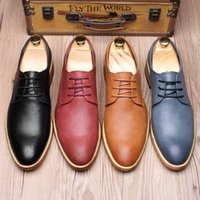 Wholesale Mens Business Casual Leather Shoes - Fashion British Style Genuine Leather Sapato Masculino Business Mens Shoes Soft Casual Wedding Dress Leather Shoes EU Size 37-44