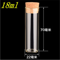 Wholesale Test Tubes Corks Wholesale - 22*70mm 18ml Empty Glass Transparent Clear Bottles With Cork Stopper Glass Vials Jars Packaging Bottles Test Tube 100pcs lot
