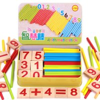 Wholesale Toys Wood Building Sticks - Wholesale- Baby math toy Wooden Intelligence Stick Education Wooden Toys Building Blocks Montessori Mathematical Gifts in iron box