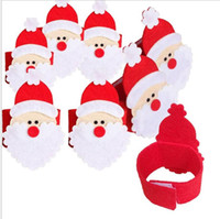 Wholesale Napkins Cartoon Decorations - Christmas Santa Claus Napkin Ring Tissue Holder Christmas Home Decoration Dinner Tableware New Year Party Decor Napkin Holders KKA3340