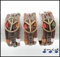 Wholesale Leather Peace Symbol Bracelet - 100% Genuine Leather Peace Symbol Bracelet with Color Wax Cord Winding Trendy Peace Sign Charm Bracelet Men's Women's Wristband 1pc T2001