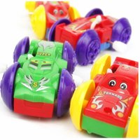 Wholesale Design Bounce - 4pcs lot Somersault Bounce Cars Two-sided Pattern Design Clockwork Funny Toys Gift